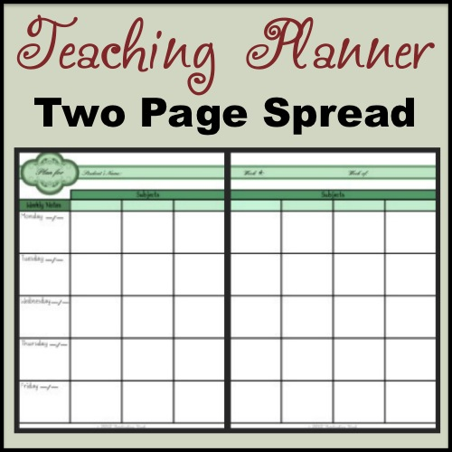 Teaching Planner Two Page Spread