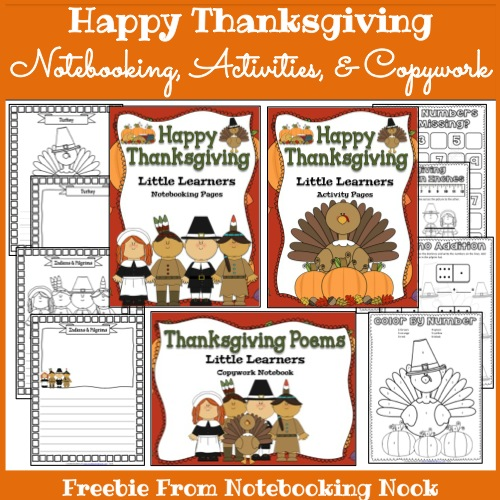 Freebie: Thanksgiving Notebooking Pages, Activity Pages, and Copywork