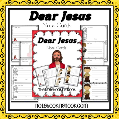 Free Dear Jesus Note Cards from Notebooking Nook